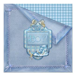 """Bebé de Brown azul de la tela escocesa de Bootie Invitación 5.25"""" X 5.25"""""""