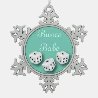 Bebé de Bunco con el copo de nieve del navidad de Adorno De Peltre En Forma De Copo De Nieve