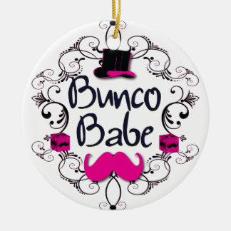 Bebé de Bunco con remolinos, el bigote y el Adorno Redondo De Cerámica