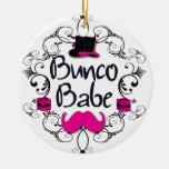 Bebé de Bunco con remolinos, el bigote y el sombre Adornos De Navidad