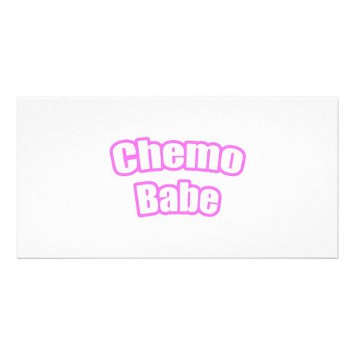 Bebé de Chemo (rosa) Tarjeta Fotográfica Personalizada