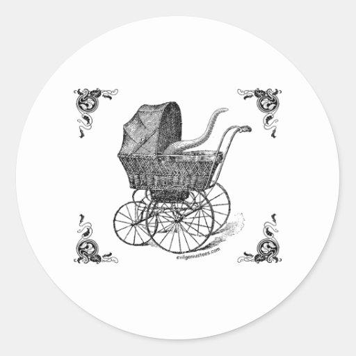 Bebé de Cthulhu del Victorian de Steampunk Pegatina Redonda