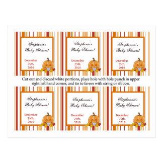 Bebé de la calabaza de la caída del otoño de 6 eti tarjetas postales