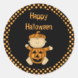 Bebé de la calabaza del feliz Halloween Pegatina Redonda