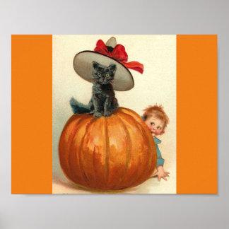 Bebé de la calabaza del gorra de la bruja del gato póster