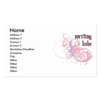 Bebé de la escritura plantilla de tarjeta de negocio
