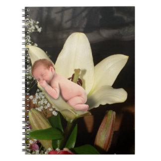 Bebé de la flor libros de apuntes