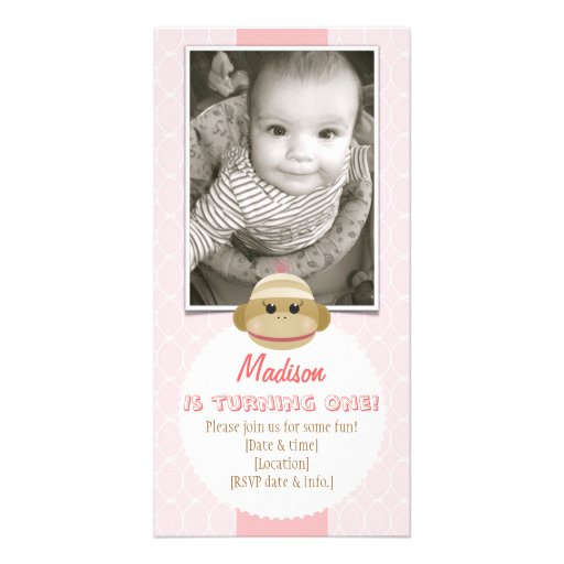 Bebé de la invitación del cumpleaños del chica del tarjeta fotografica personalizada