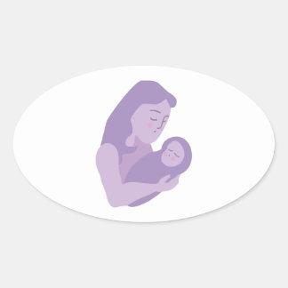Bebé de la madre pegatina de óval personalizadas