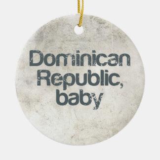 Bebé de la República Dominicana Adorno Navideño Redondo De Cerámica