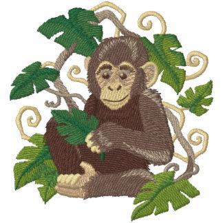 Bebé de la selva del chimpancé sudadera bordada con capucha