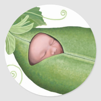 Bebé de la vaina de guisante pegatina redonda