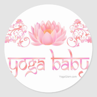 Bebé de la yoga de Lotus Pegatina Redonda