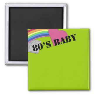 bebé de los años 80 imán cuadrado