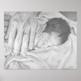 Bebé de los sueños dulces blanco y negro póster