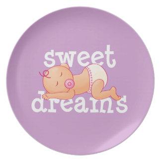Bebé de los sueños dulces platos para fiestas