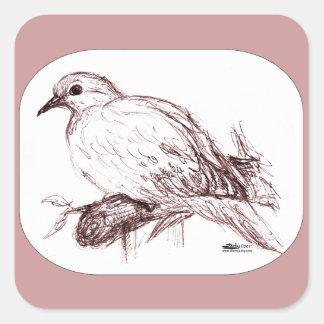 Bebé de luto de la paloma calcomanías cuadradas personalizadas