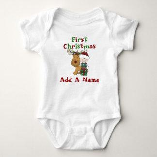Bebé de Santa y primer mono del navidad del reno Mameluco De Bebé