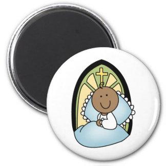 Bebé del afroamericano del bautismo imán redondo 5 cm