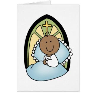 Bebé del afroamericano del bautismo tarjeta de felicitación