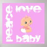 Bebé del amor de la paz (rosa) poster