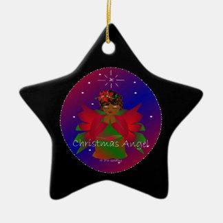 Bebé del ángel del navidad en todo el mundo en el adorno navideño de cerámica en forma de estrella