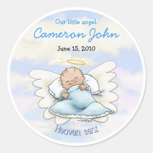Bebé del ángel - llovido del cielo pegatina redonda