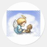 Bebé del ángel y oso de peluche pegatinas redondas
