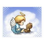 Bebé del ángel y oso de peluche postal