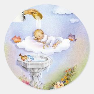 Bebé del bautizo del bautismo pegatina redonda