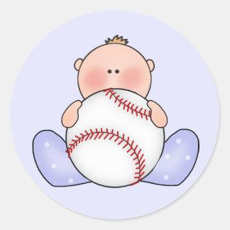 Bebé del béisbol de Lil Pegatina Redonda