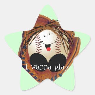 Bebé del béisbol pegatina en forma de estrella