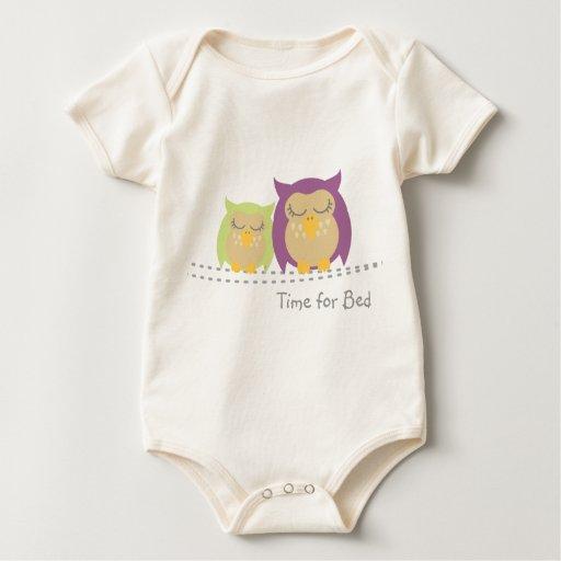 Bebé del búho, hora para la cama body de bebé
