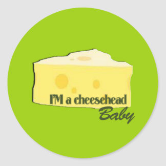 bebé del cheesehead etiqueta redonda