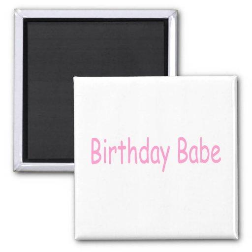 Bebé del cumpleaños (rosa) imán de nevera