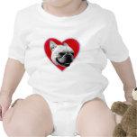 Bebé del dogo francés del amor traje de bebé