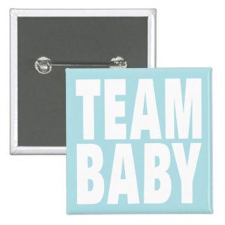 Bebé del equipo en azul pin cuadrada 5 cm
