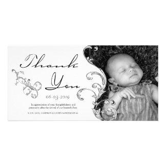 Bebé del Flourish del vintage el nuevo le agradece Plantilla Para Tarjeta De Foto