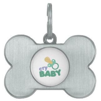 Bebé del grito placa de nombre de mascota