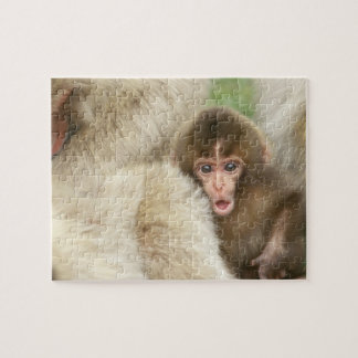 Bebé del mono de la nieve, Jigokudani, Nagano, Jap Puzzle Con Fotos