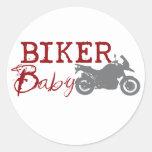 Bebé del motorista etiqueta redonda