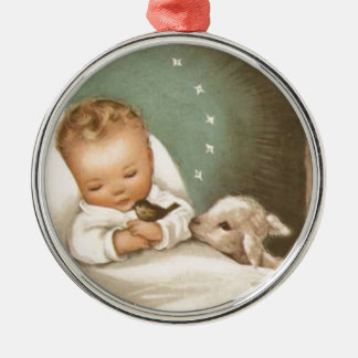 Bebé del navidad del vintage con el cordero adorno navideño redondo de metal