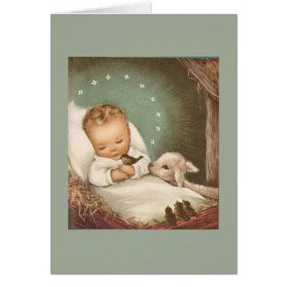 Bebé del navidad del vintage con el cordero tarjeta de felicitación