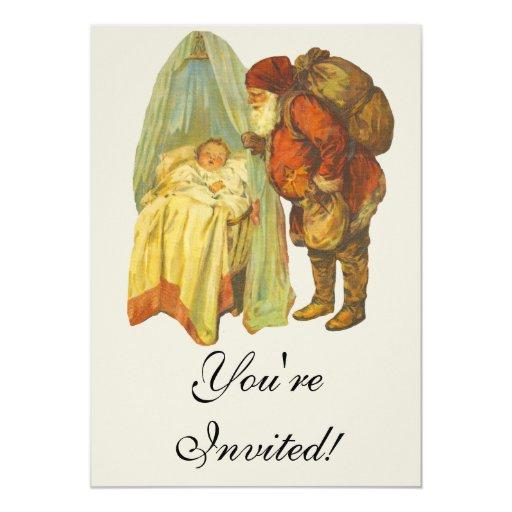 Bebé del navidad del vintage invitación 12,7 x 17,8 cm