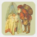 Bebé del navidad del vintage calcomania cuadrada personalizada