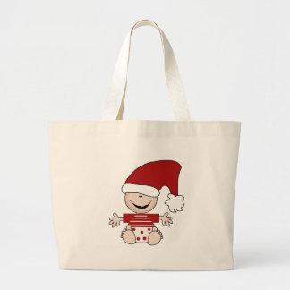 Bebé del navidad en camisetas y regalos del casqui bolsa tela grande