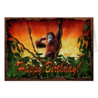 Bebé del orangután y tarjeta de cumpleaños de la f