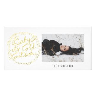 Bebé del oro su día de fiesta exterior frío de la tarjeta fotográfica personalizada
