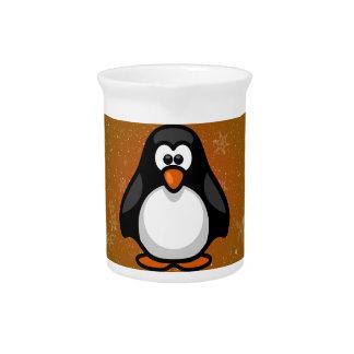 Bebé del pingüino con el fondo coloreado/gráfico jarron