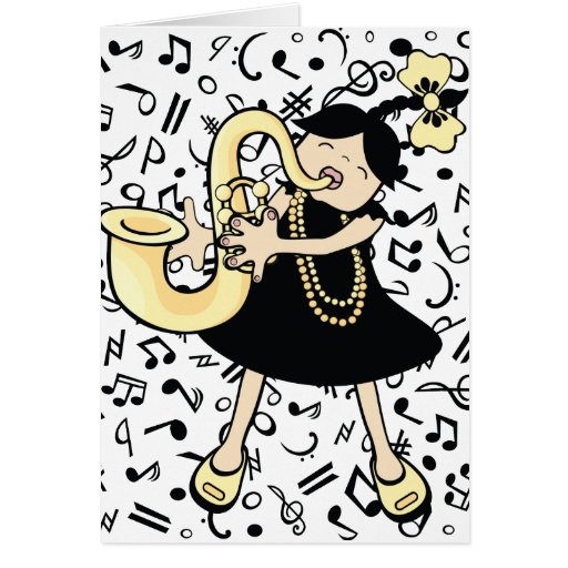 bebé del saxofón tarjeta de felicitación